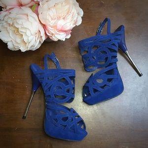 ShoeDazzle, Gala, Platform Heel Sandals, Blue, 9